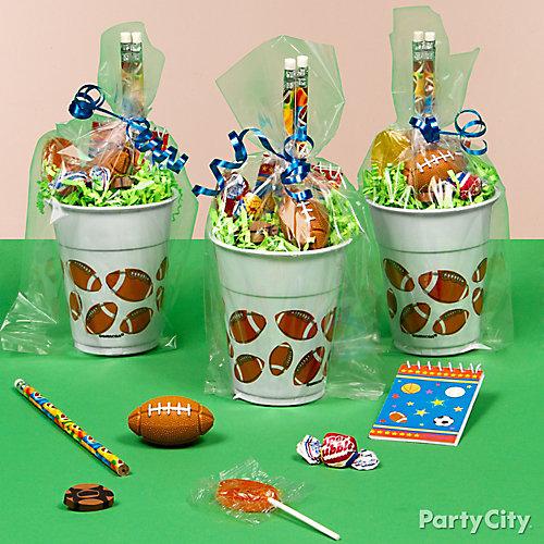 Football Favor Cup Idea Favor Ideas Football Party Ideas Boys Birthday