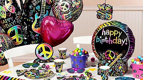 Neon Doodle Party Table Idea