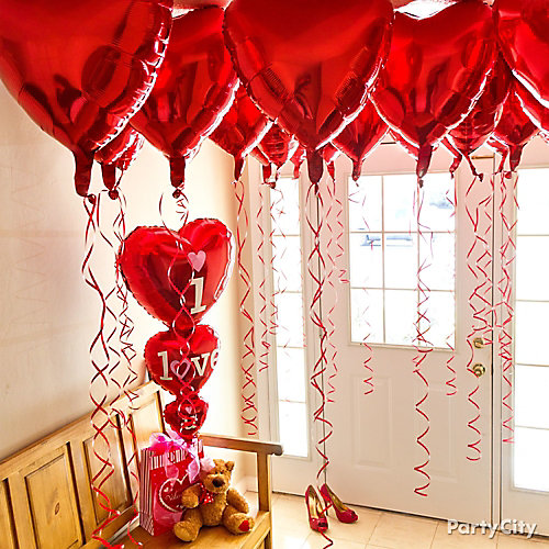 Valentines Day Red Heart Balloon Canopy Idea