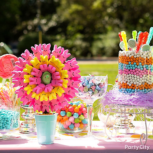 Easter candy buffet idea party city for Decoration table gourmandise