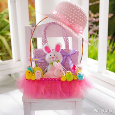Bunny ears and cottontail easter basket idea party city a tutu cute basket for girly girls create a unique easter basket for your darling diva with just a few simple touches negle Image collections