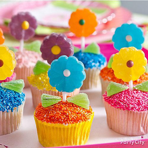 Easter Daisy Lollipop Cupcakes Idea