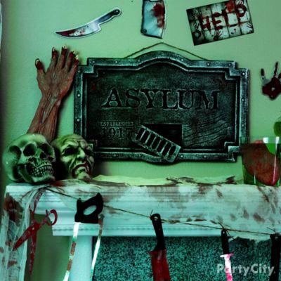 Halloween Asylum Mantel Sign Idea