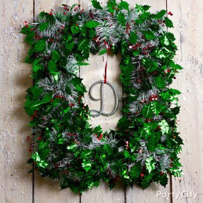 Tinsel Garland Wreath DIY