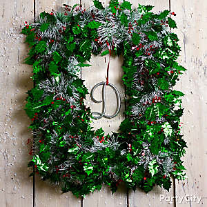 Tinsel Garland Wreath DIY