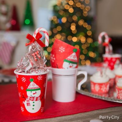 Friendly Snowman Candy Favor Cups Idea