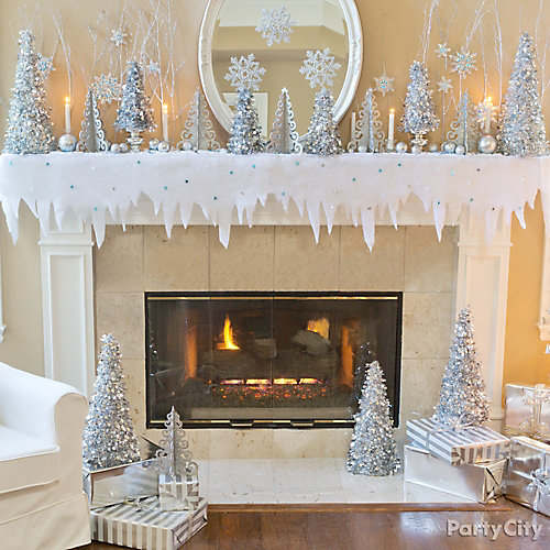Snow Scene Mantel Decorating Idea