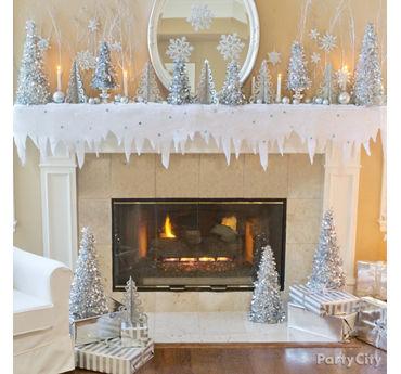 Snow Scene Mantel Decorating Idea