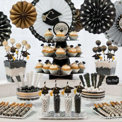 Black, Silver & Gold Gradutation Sweets Table Idea