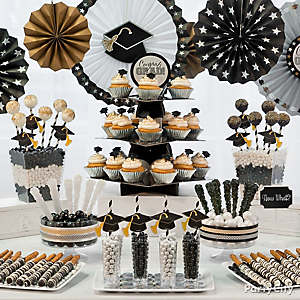 Black, Silver and Gold Graduation Sweets Table Idea