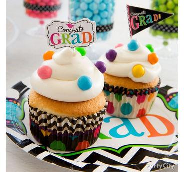 Colorful Dot Graduation Cupcakes Idea