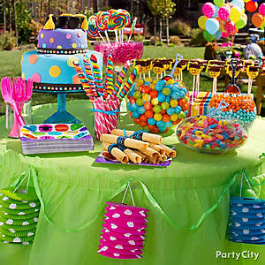 Colorful Polka Dot Sweets and Treats Table Idea