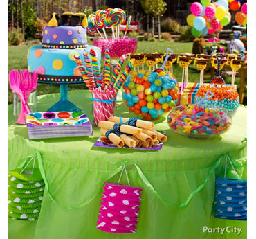 Colorful Polka Dot Sweets and Treats Table Idea