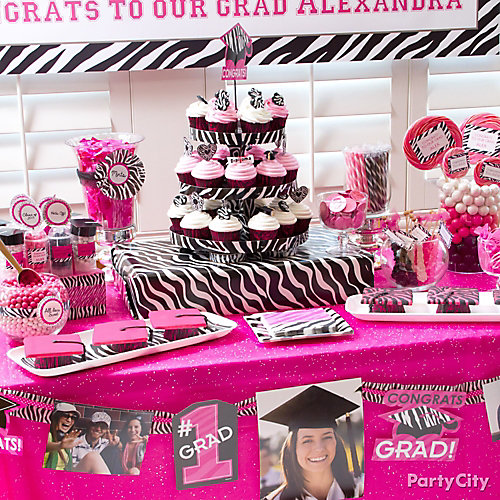 Pink and Zebra Sweets Table Idea