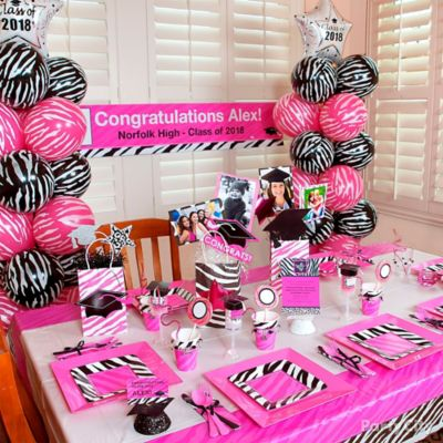 Pink and Zebra Grad Party Room Idea