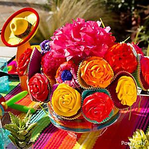 Summer Flower Cupcake Bouquet Centerpiece Idea