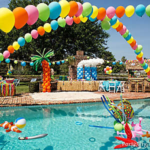 Pool Party Decorations Ideas image of pool party decoration ideas images Pool Party Idea Diy Balloon Palm Trees How To Diy Balloon Arches Idea