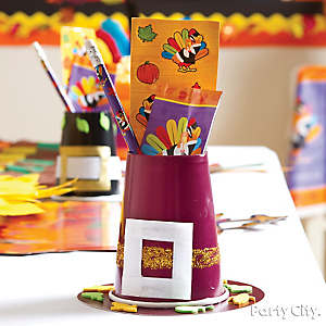Pilgrim Hat Favor Cups Idea