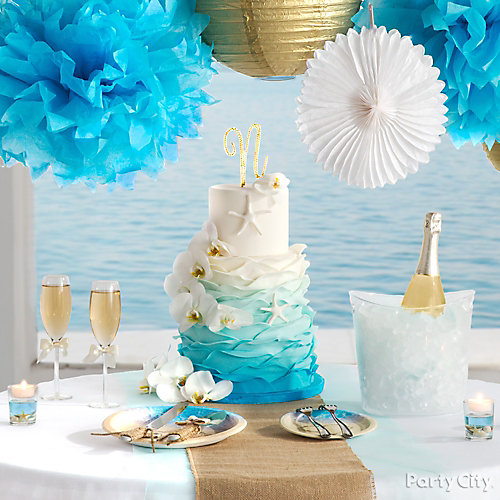 Beach Love Reception Cake Table Idea