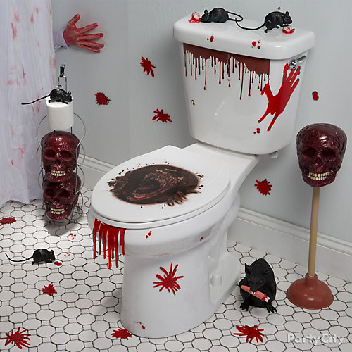 lend a hand asylum bathroom idea - Halloween Bathroom Decorations