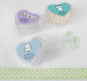 Generic Baby Personalized Baby Shower Heart-Shaped Plastic Favor Boxes (Printed Label)