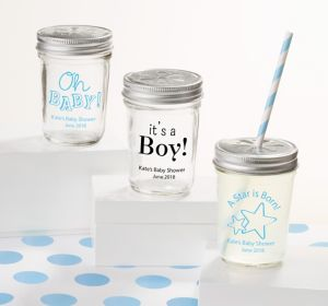 Baby Boy Personalized Baby Shower Mason Jars with Daisy Drink Lids (Printed Glass)