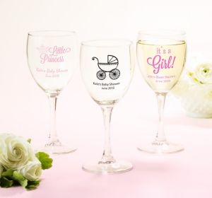 Baby Girl Personalized Baby Shower Wine Glasses (Printed Glass)