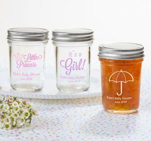 Baby Girl Personalized Baby Shower Mason Jars (Printed Glass)