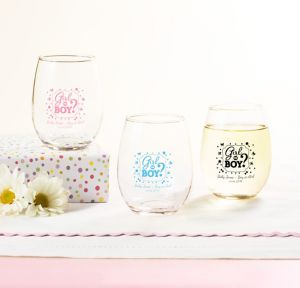 Girl or Boy Personalized Gender Reveal Stemless Wine Glasses 9oz (Printed Glass)