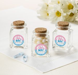 Girl or Boy Personalized Gender Reveal Small Glass Bottles with Corks (Printed Label)