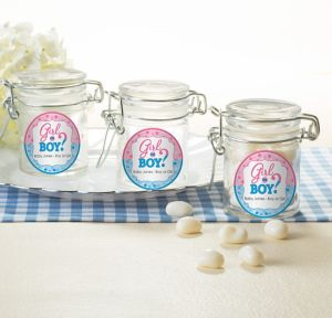 Girl or Boy Personalized Gender Reveal Small Glass Jars (Printed Label)