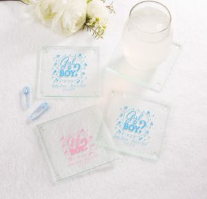 Girl or Boy Personalized Gender Reveal Glass Coasters (Printed Glass)