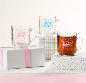 Girl or Boy Personalized Gender Reveal Glass Coffee Mugs (Printed Glass)