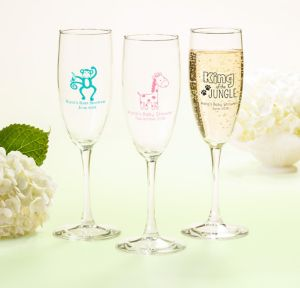 Fisher-Price Jungle Personalized Baby Shower Champagne Flutes (Printed Glass)