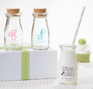 Fisher-Price Jungle Personalized Baby Shower Glass Milk Bottles (Printed Glass)