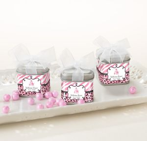 Pink Safari Personalized Baby Shower Favor Tins with Bows (Printed Label)