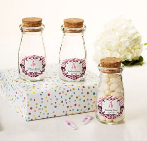 Pink Safari Personalized Baby Shower Glass Milk Bottles with Corks (Printed Label)