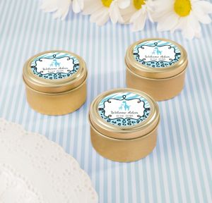 Blue Safari Personalized Baby Shower Round Candy Tins - Gold (Printed Label)