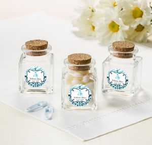 Blue Safari Personalized Baby Shower Small Glass Bottles with Corks (Printed Label)