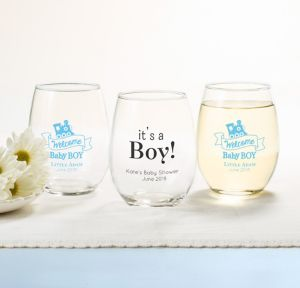 Welcome Baby Boy Personalized Baby Shower Stemless Wine Glasses 15oz (Printed Glass)