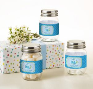 Welcome Baby Boy Personalized Baby Shower Mini Glass Mason Jars (Printed Label)