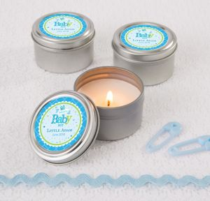 Welcome Baby Boy Personalized Baby Shower Candle Tins (Printed Label)