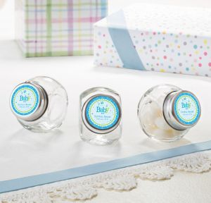 Welcome Baby Boy Personalized Baby Shower Glass Candy Jars (Printed Label)