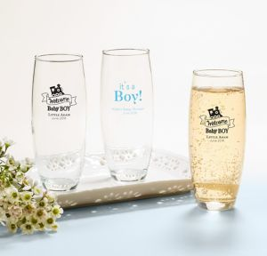 Welcome Baby Boy Personalized Baby Shower Stemless Champagne Flutes (Printed Glass)
