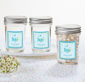 Welcome Baby Boy Personalized Baby Shower Mason Jar with Solid Lid (Printed Label)