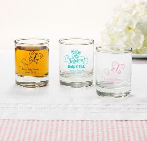 Welcome Baby Girl Personalized Baby Shower Shot Glasses (Printed Glass)