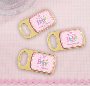 Welcome Baby Girl Personalized Baby Shower Bottle Openers - Gold (Printed Epoxy Label)