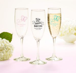 Welcome Baby Girl Personalized Baby Shower Champagne Flutes (Printed Glass)