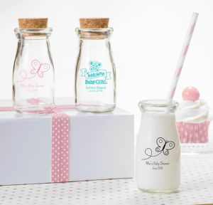 Welcome Baby Girl Personalized Baby Shower Glass Milk Bottles (Printed Glass)