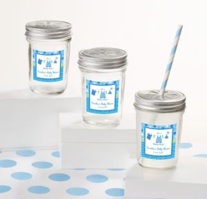 It's a Boy Personalized Baby Shower Mason Jars with Daisy Lids (Printed Label)